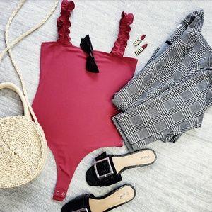 Tops - 🆕//All that Sass bodysuit// Berry ruffle bodysuit